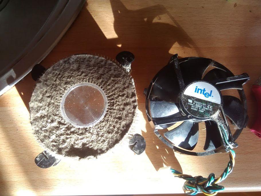 кулер процессора в пыли